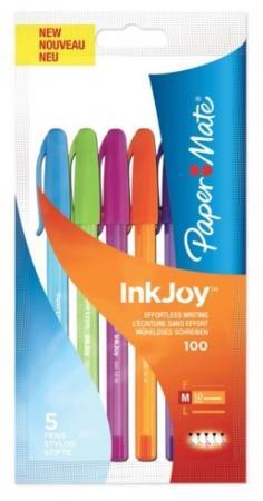 Набор шариковых ручек шариковая Paper Mate INK JOY 5 шт зеленый розовый оранжевый фиолетовый голубой набор текстмаркеров staedtler textsurfer classic 1 5 мм 6 шт голубой желтый зеленый оранжевый розовый фиолетовый