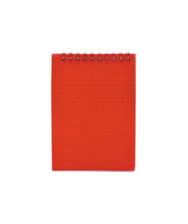 Блокнот на спирали, клетка, пластик.обложка, красный, ф. А5, 40л
