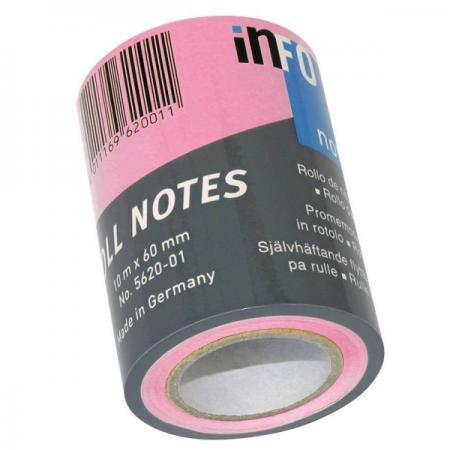 Бумага для заметок с липким слоем, разм. 60 мм х10 м, ярко-розовая, в роле, для арт. 562401 венотекс колготки компрессионные 1 класс арт 1с300 разм хxl телесные