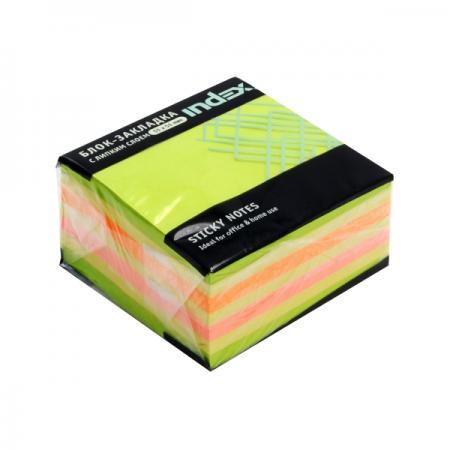 Бумага для заметок с липким слоем МИНИ-КУБ, разм. 51х51 мм, зеленая неоновая РАДУГА, 250 л цена
