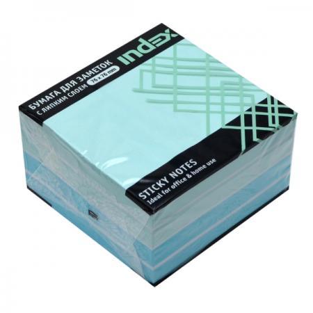Бумага с липким слоем Index 450 листов 76x76 мм голубой 4680291040921 цены