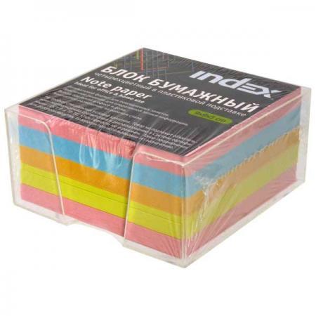 Блок бумажный, четырехцветный, в пласт. подставке, разм. 9х9х5 см, офсет 80 гр цена 2017