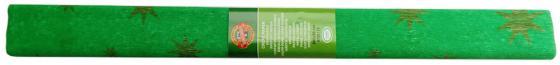 Креп-бумага Koh-I-Noor, зеленая с золотыми звездами, 2000х500 мм