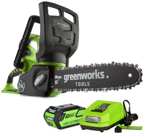 Аккумуляторная цепная пила Greenworks 40V G-max G40CS30 с аккумулятором 2Ah и зарядныйм устройством 20117UA аккумуляторный триммер greenworks 40v g max g40lt с аккумулятором 2ah и зарядныйм устройством