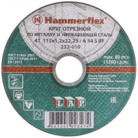 115 x 1.2 x 22,23 A 54 S BF Круг отрезной Hammer Flex 232-010 по металлу и нержавеющей стали отрезной круг hammer flex 232 018 по металлу 86898