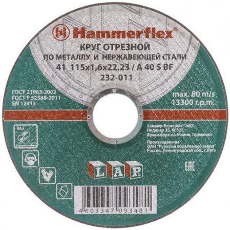 115 x 1.6 x 22,23 A 40 S BF Круг отрезной Hammer Flex 232-011 по металлу и нержавеющей стали отрезной круг hammer flex 232 018 по металлу 86898