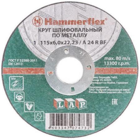 Шлифовальный круг 115 x 6.0 x 22,23 A 24 R BF Круг шлифовальный Hammer Flex 232-028 по металлу шлифовальный круг 38 мм dremel sc541 2615s541ja