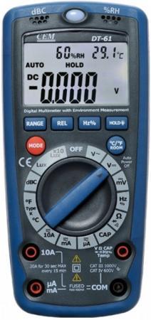 Мультиметр СЕМ DT-61 Шумомер, люксметр, влагомер, термометр, детектор скрытого напряжения термометр cem dt 131