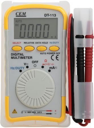 Мультиметр цифровой СЕМ DT-113 карманный, ЖК-экран мультиметр cem dt 932n цифровой true rms