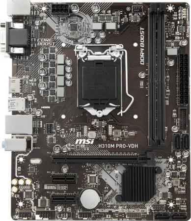 Материнская плата MSI H310M PRO-VDH Socket 1151 v2 H310 2xDDR4 1xPCI-E 16x 2xPCI-E 1x 4 mATX Retail материнская плата gigabyte h310m s2h socket 1151 v2 h310 2xddr4 1xpci e 16x 2xpci e 1x 4 matx retail