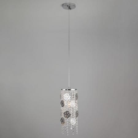 Подвесной светильник Eurosvet Flower 10083/1 хром/прозрачный хрусталь Strotskis