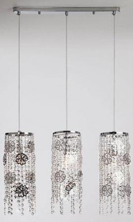 Подвесной светильник Eurosvet Flower 10083/3 хром/прозрачный хрусталь Strotskis