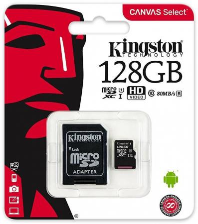 Карта памяти Micro SDXC 128GB Class 10 Kingston SDCS/128GB карта памяти sdxc 128gb class 10 kingston sd10vg2 128gb
