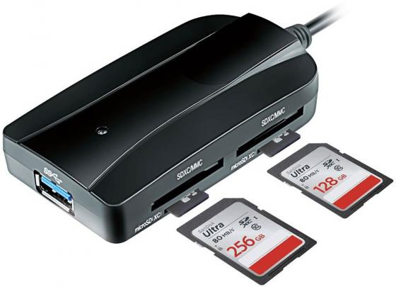 Картридер внешний Ginzzu GR-317UB USB 3.0-SDXC/SD/SDHC/MMC/MS/microSD/M2 + 3xUSB 3.0 HUB черный high speed usb 3 0 sd ms m2 cf xd micro sd tf card reader black silver