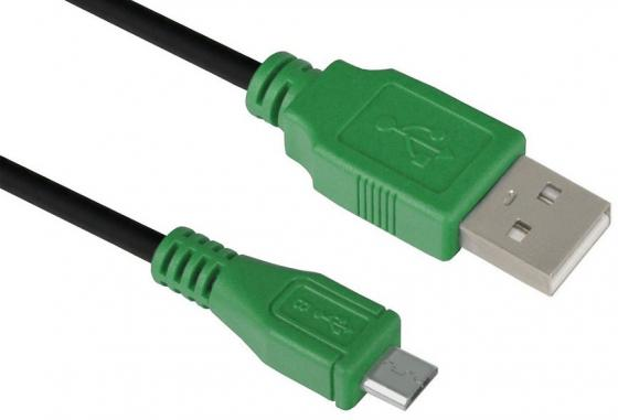 Кабель microUSB 1м Green Connection GCR-UA1MCB1-BB2S-1.0m круглый черный/зеленый