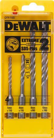 Набор буров DeWALT DT9700-QZ SDS+ EXTREME2 в пластиковой кассете, 4шт. набор бит dewalt dt7918