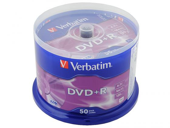 Диски DVD+R Verbatim 16x 4.7Gb CakeBox 50шт 43550 диски cd dvd sony dvd r 16x dvd dvd