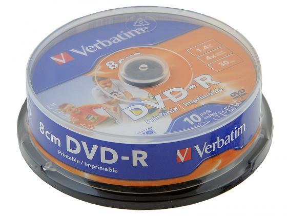 Диски DVD-R 8cm 1.4Gb 4x CakeBox (10шт) Printable Verbatim [43573] dvd r vs 4 7gb 16х 10шт cake box