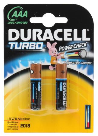 Батарейки Duracell Turbo Max LR03-2BL AAA 2 шт duracell батарейки щелочные duracell turbo aaa lr03 2 шт