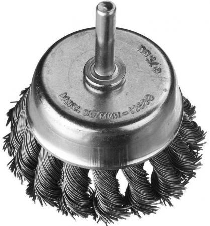Кордщетка DEXX 35111-075 чашечная со шпилькой жгутированные пучки сталь0.5мм d75мм щетка профоснастка эксперт чашечная жгутовая 515 d75мм m14 2 rpm 12500 ss нерж 0 5