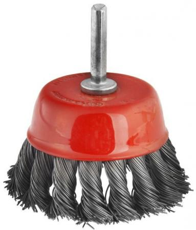 Кордщетка Hammer Flex 207-204 75мм d6  чашеобразная витая жесткая, с хвостовиком