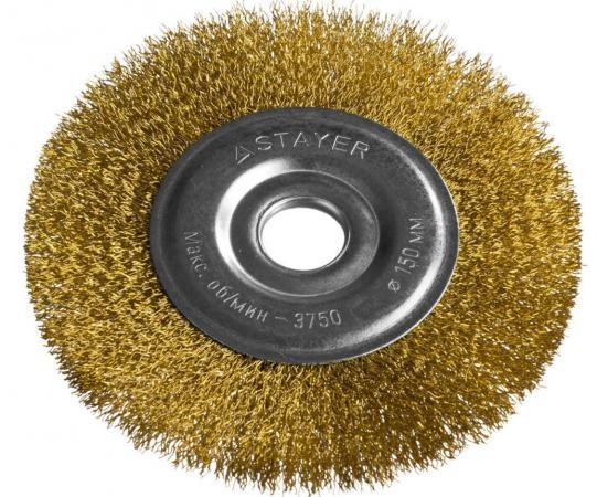 Кордщетка STAYER PROFESSIONAL 35122-150 дУШМ витая стальная латунпроволока 03мм 150мм22мм