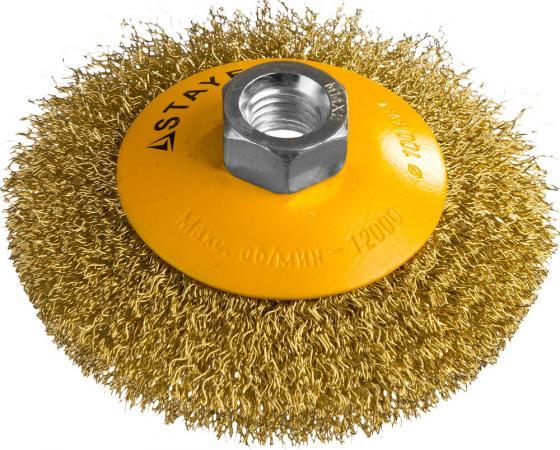 Кордщетка STAYER PROFESSIONAL 35133-100 коническая М14 витая латунь/сталь 0.3мм d100мм