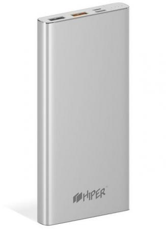 Внешний аккумулятор Power Bank 10000 мАч HIPER MPX10000 серебристый