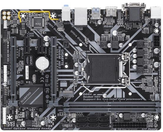 Материнская плата GigaByte B360M HD3 Socket 1151 v2 B360 2xDDR4 2xPCI-E 16x 2xPCI-E 1x 6 mATX Retail материнская плата gigabyte ga h81m s1 v2 2 socket 1150 h81 2xddr3 1xpci e 16x 2xpci e 1x 2xsata ii 2xsataiii matx retail