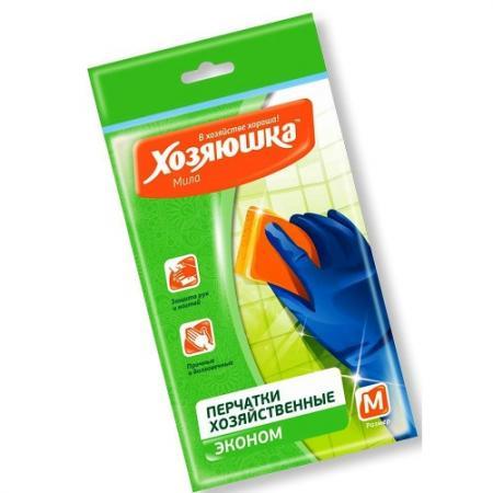 ХОЗЯЮШКА Мила Перчатки латексные ЭКОНОМ размер М перчатки хозяйственные хозяюшка мила латексные размер м