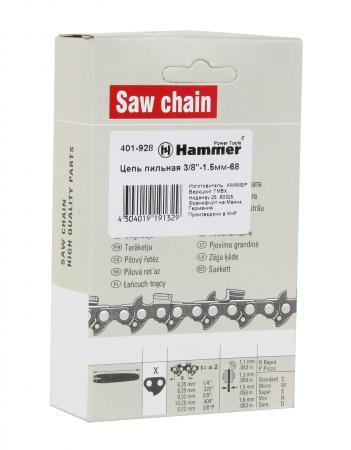 Цепь пильная Hammer Flex 401-928 3/8-1,5мм-68 шина пильная echo 20 3 8 1 5 72 звена s50r73 72aa et