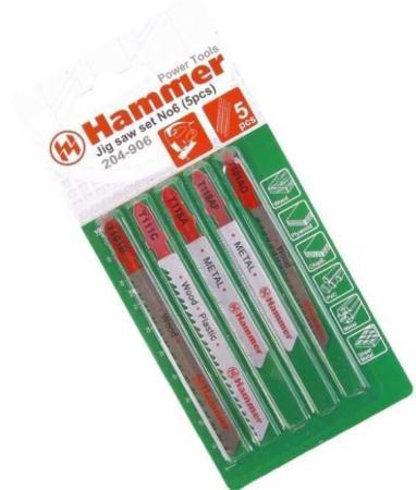 Пилка для лобзика (набор) Hammer Flex 204-906 набор No6 дер.\\пл.\\мет, 5 видов, 5шт likeu s no6 silver