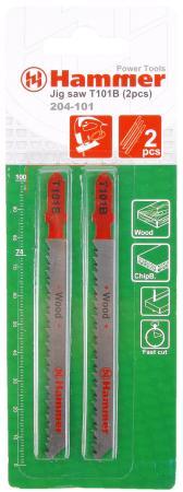 Пилка для лобзика Hammer Flex 204-101 JG WD T101B дерево\\пластик, 74мм, шаг 2.5, HCS, 2шт. карликовое дерево 100 95