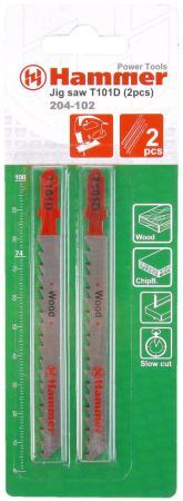 Пилка для лобзика Hammer Flex 204-102 JG WD T101D дерево\\пластик, 74мм, шаг 4.0-5.2, HCS, 2шт. карликовое дерево 100 95