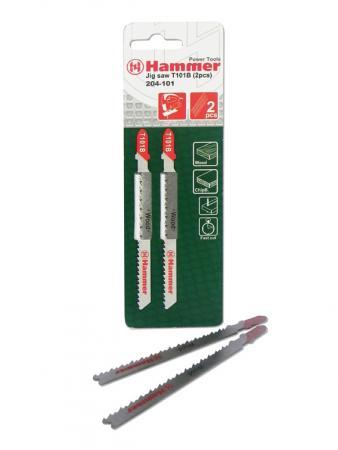 Пилка для лобзика Hammer Flex 204-109 JG WD-PL T101BF (2pcs) тв.др\\лам\\эпокс., 74мм, шаг 2.7, BiM, 2pcs left