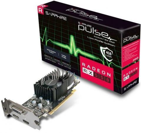 Видеокарта Sapphire Radeon RX 550 11268-09-20G PCI-E 4096Mb 128 Bit Retail видеокарта sapphire pulse radeon rx 580 8gd5 1366mhz pci e 3 0 8192mb 8000mhz 256 bit dvi 2xhdmi 11265 05 20g
