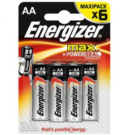 ENERGIZER Батарейка алкалиновая MАХ LR6/E91 тип АА 6шт батарейка energizer alkaline power aaa алкалиновая 8 шт