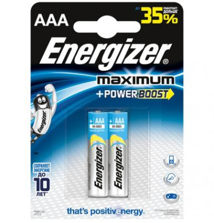 ENERGIZER Батарейка алкалиновая Maximum LR03/E92 тип ААА 2шт батарейка energizer maximum lr6 bp2 2шт в блистере