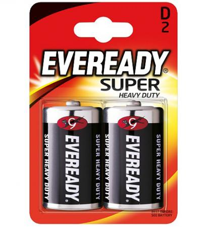 ENERGIZER Батарейка солевая Eveready Super R20 тип D 2шт батарейка d energizer eveready super r20 ni mh 2 штуки