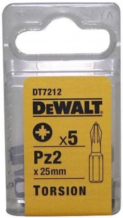 Бита DeWALT DT7212-QZ Torsion для шурупов со шлицем Pozidriv, Pz2x25мм, 5шт.