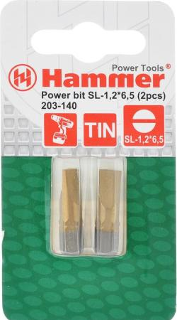 Бита Hammer Flex 203-140 PB SL-1,2*6,5 25мм TIN, 2шт. hammer 203 901 pb set no1 7pcs ph pz sl 7шт