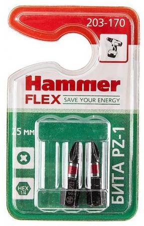 Бита Hammer Flex 203-170 PZ-1 25мм, 2шт. бита hammer flex 203 139 pb sl 1 2 6 5 25мм tin 1шт
