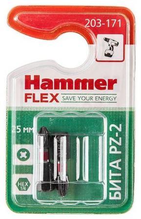 Бита Hammer Flex 203-171 PZ-2 25мм, 2шт. бита hammer flex 203 139 pb sl 1 2 6 5 25мм tin 1шт