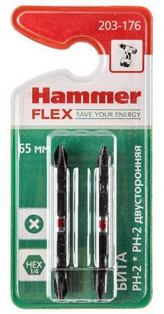 Бита Hammer Flex 203-176 PH-2*PH-2 двусторонняя 65мм, 2шт.
