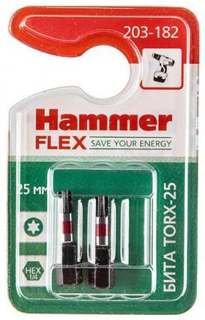 бита практика torx 15х50мм 2шт Бита Hammer Flex 203-182 TORX-25 25мм, 2шт.