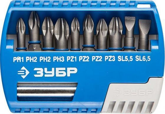 Набор бит ЗУБР ЭКСПЕРТ 26050-H11 с маг.адаптером Cr-Mo PH1/PH2/PH3/PZ1/PZ2/PZ3/SL55/SL65 11шт набор бит зубр эксперт 26054 h31