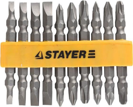 Набор бит STAYER MASTER 2605-H10_z01 двухсторонние в пластиковом держателе Cr-V 10шт набор бит stayer master 7шт 2607 h7 z01