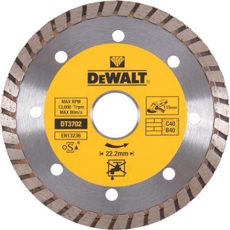 Диск алм. DeWALT DT3702-QZ со сплошной кромкой Turbo универсальн., 115x22.2x2.1мм диск алм dewalt dt3714 qz dewalt® для плиткореза dwc410 110x20x1 6мм