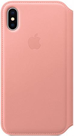 Фото - Чехол-книжка Apple Leather Folio для iPhone X бледно-розовый MRGF2ZM/A чехол для apple iphone x leather folio berry