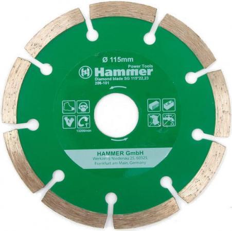 Диск алм. Hammer Flex 206-101 DB SG 115x22мм сегментный диск алм hammer flex 206 111 db tb 115x22мм турбо